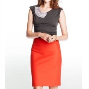 J. Crew The Pencil Skirt Bright Orange Size 8